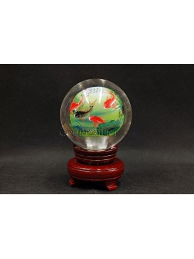 Inner Painting-- Lucky Fish And Lotus Flowers Crystal Ball