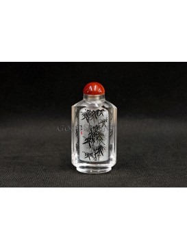 Snuff Bottle With Inside Painting--- Elegant Inky Bamboo
