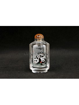 Snuff Bottle With Inside Painting--- Bamboo And Cute Pandas