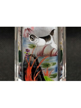 Snuff Bottle With Inside Painting--- Naughty Cats