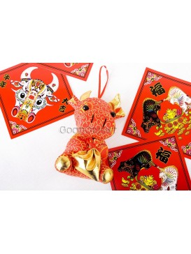 Lucky Red Ox Holding A gold-colored Bag