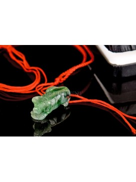 Green Jade Ox Pendant And Red Nylon  Necklace