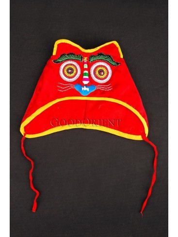 Hot Red Wadded Tiger-head Hat