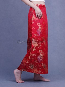 China Red Opulent Floral Skirt