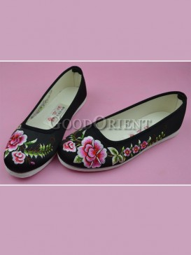 Black Handmade Embroidered Floral Cotton Shoes