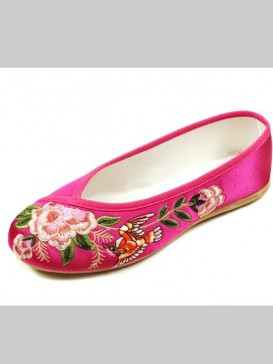 Fuchsia Handmade Embroidered Peony Cotton Shoes