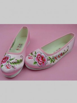 Pink Handmade Embroidered Peony Cotton Shoes