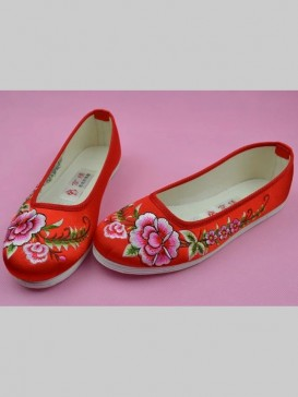 Red Handmade Embroidered Peony Cotton Shoes