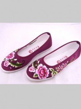 Wine Red Handmade Embroidered Floral Cotton Shoes