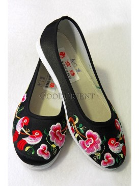 Black Handmade Embroidered Cotton Shoes-Magpies