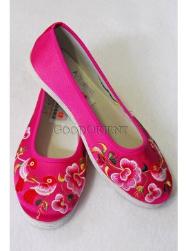Fuchsia Handmade Embroidered Cotton Shoes-Magpies