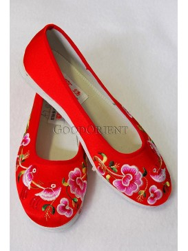 Red Handmade Embroideres Cotton Shoes-Magpies