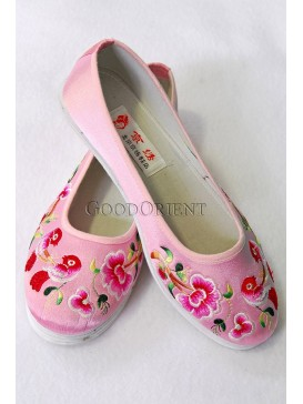 Pink Handmade Embroidered Cotton Shoes