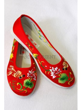Red Handmade Embroidered Cotton Shoes-Gold-fish