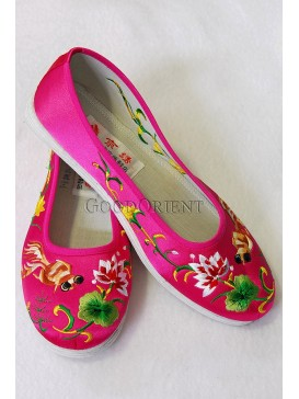 Fuchsia Handmade Embroidered Cotton Shoes-Gold-fish