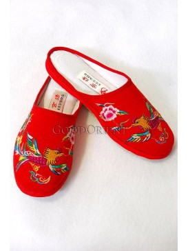 Red Handmade Embroidered Phoenix Slippers