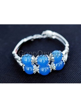 Oceanic Blue Beads And Silver Bracelet