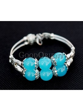 Clear Blue Beads And Silver Bracelet