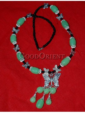 Butterfly And Aquamarine Beaded Necklace