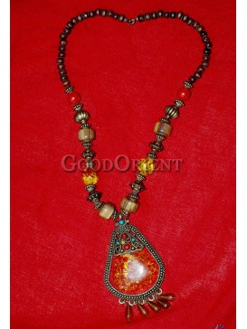 Tibetan Pumpkin Agate Necklace