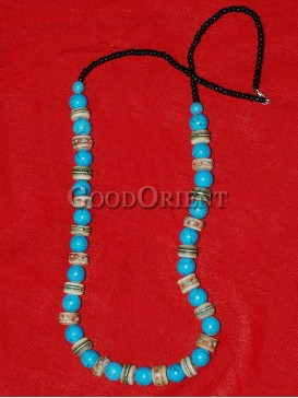 Natual Turquoise And Black Beaded Necklace