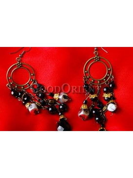 Chic Black Beaded And Round Bronze Earrings