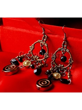 Black Beaded And Artistic Ring Earrings