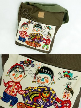 Dark green Chinese Traditional Painting bag