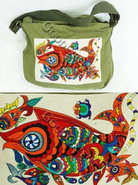 Green Chinese Traditional Painting bag