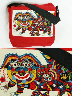 Red Chinese Traditional Painting bag