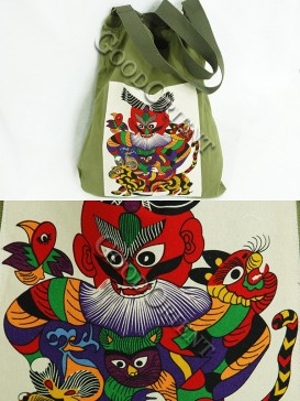 Forest Green Chinese Traditional Painting Bag