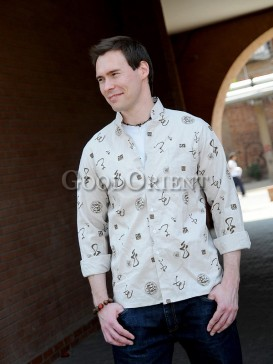 Beige Chinese Calligraphy And Dragon Seal Linen Shirt