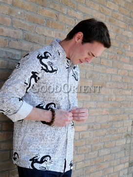White Dragon And Chinese Calligraphy Linen Shirt