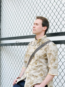 Beige Flying Dragon Linen Shirt