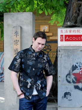 Black Chinese Calligraphy Linen Shirt