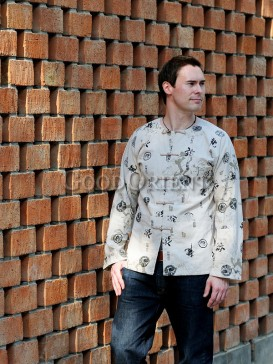 Beige Chinese Calligraphy Linen Shirt