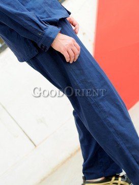 Darkblue Chinese Linen Pants
