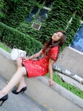 Chinese Red Pottery Figurine Dress