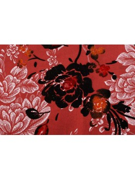 Thai silk with flocking Peony Fabric