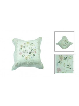 Beautiful Flower Cushion Cover---White
