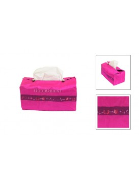 Embroidered Tissue Holder---Pink