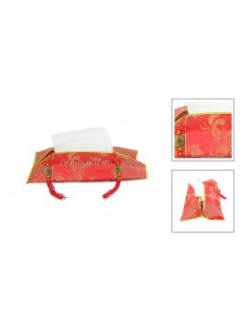 Phoenix Brocade Tissue Holder---Red