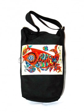 Black Happy Fish Linen Bag