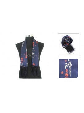 Chinese Double-Faced Silk Men Scarf---Navy