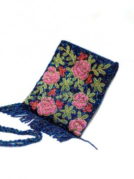 Graceful Flowers Beaded Bag