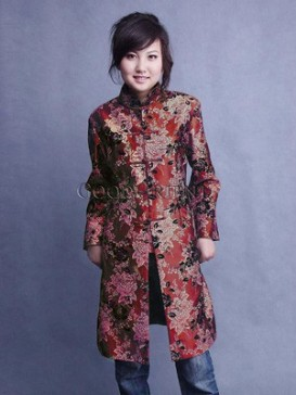 Flower Thai silk White Peony Long Coat