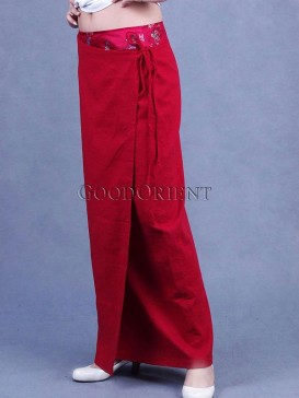 Chinese Red Linen Skirt