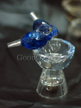 Two Little Blue Birds Crystal Decoration