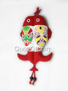The Chinese Opera Mask Fish Textile Hanging Decoration