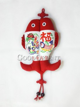 Chinese Traditional New Year Pictures Fish Textile Hanging Decoration